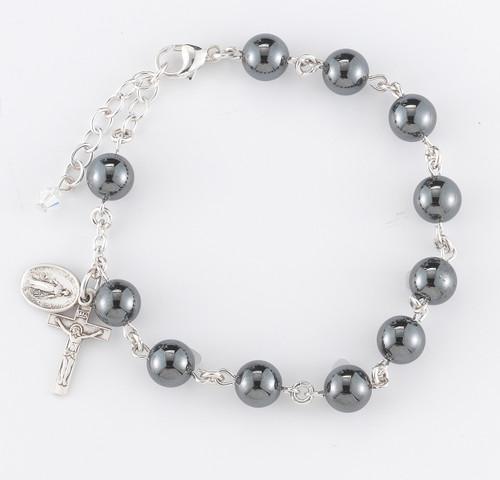 Genuine Hematite Round Rosary Bracelet | 8mm Beads