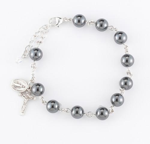Genuine Hematite Round Sterling Silver Rosary Bracelet 8mm