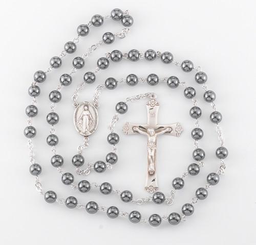 Genuine Hematite Sterling Silver Rosary
