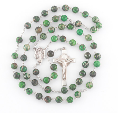 Genuine Imperial Jasper Sterling Rosary