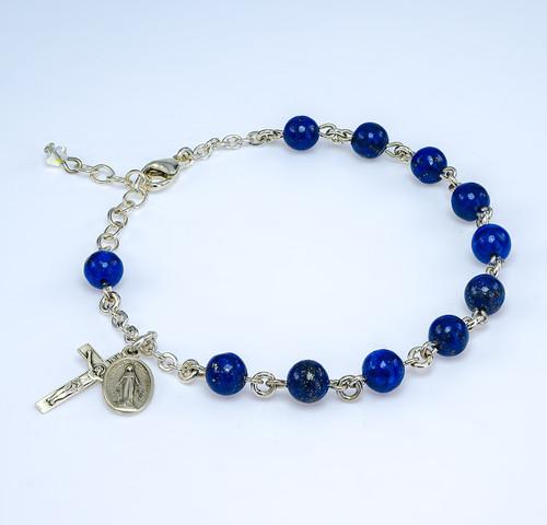 Genuine Lapis Round Sterling Silver Rosary Bracelet