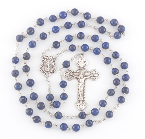 Genuine Lapis Sterling Silver Rosary