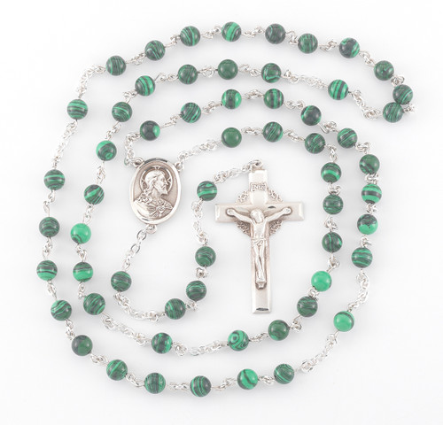 Genuine Malachite Sterling Silver Rosary