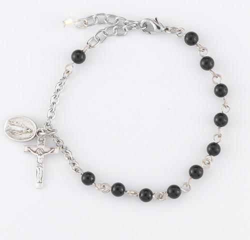 Genuine Onyx Round Rosary Bracelet