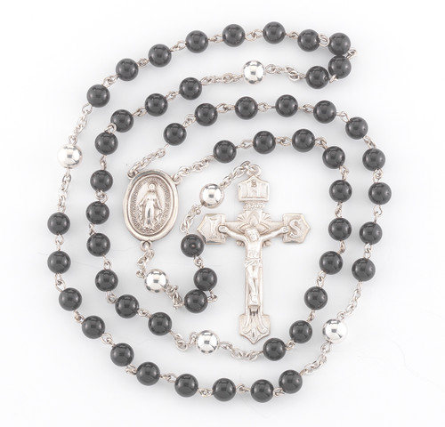 Genuine Onyx Sterling Silver Rosary | 6mm Beads