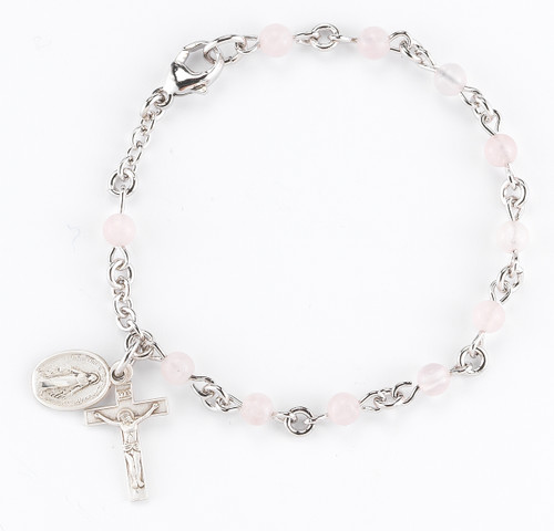 Genuine Rose Quartz Round Rosary Bracelet