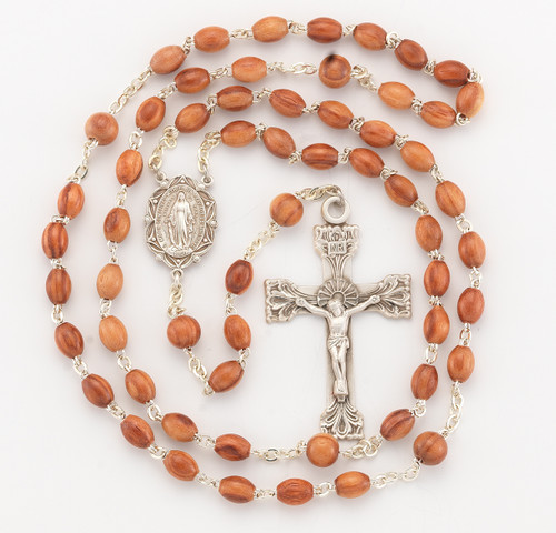 Genuine Rose Wood Oval Bead Rosary