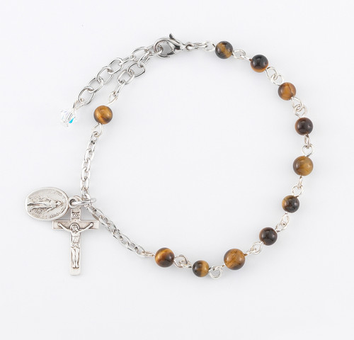 Genuine Round Tiger Eye Sterling Silver Rosary Bracelet