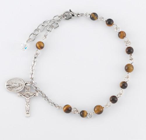 Genuine Tiger Eye Round Rosary Bracelet