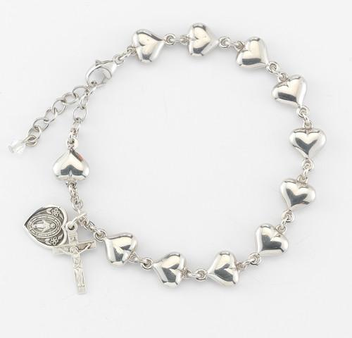 Heart Shaped Sterling Silver Rosary Bracelet