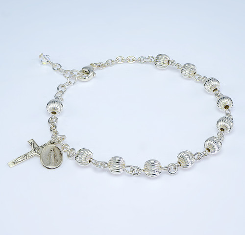 Herringbone Embossed Round Sterling Silver Rosary Bracelet
