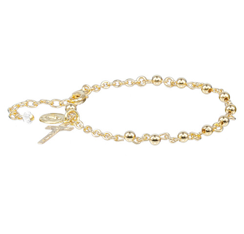 High Polished Round Gold Over Sterling Silver Rosary Bracelet | 4mm Beads