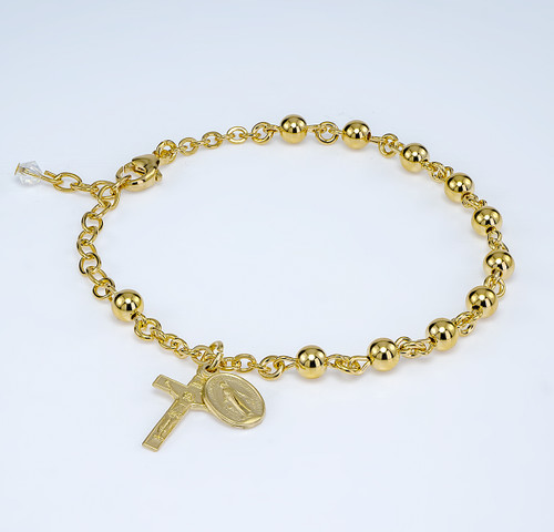 High Polished Round Gold Over Sterling Silver Rosary Bracelet | 5mm Beads