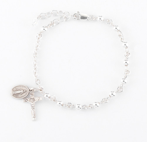 High Polished Round Sterling Silver Rosary Bracelet | 4mm Beads