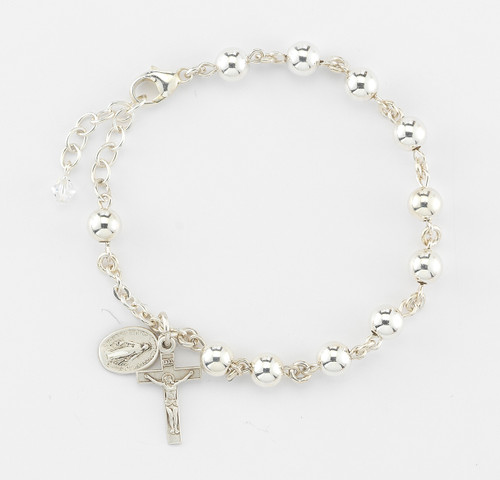 High Polished Round Sterling Silver Rosary Bracelet | 6mm Beads