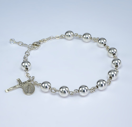 High Polished Round Sterling Silver Rosary Bracelet | 7mm Beads