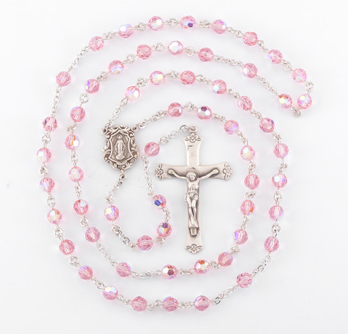Light Rose Swarovski Crystal Rosary