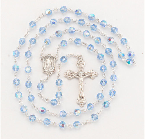 Light Sapphire Swarovski Crystal Rosary | Art Deco Profile Center | 8mm Beads