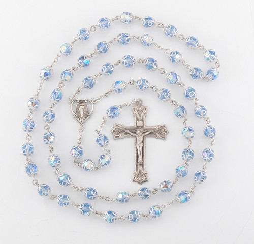 Light Sapphire Swarovski Crystal Sterling Silver Rosary | Heart Center | 8mm Beads