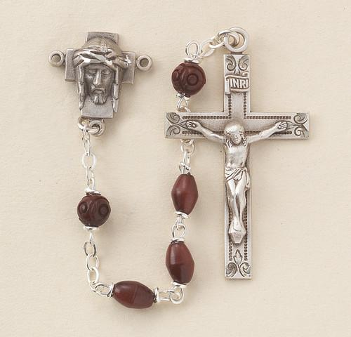 Maroon Oval Cocoa Bead Confirmation Rosary