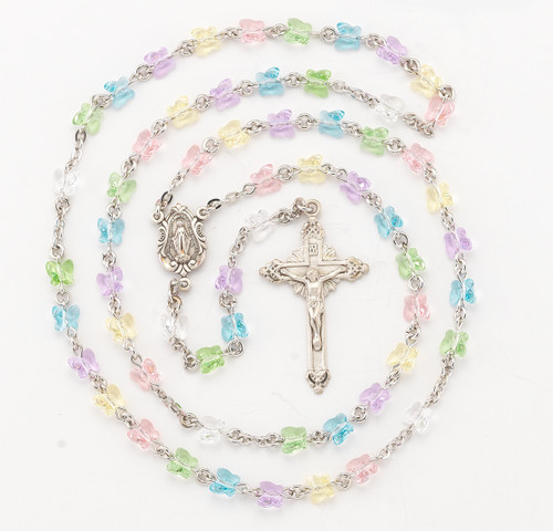 Multi Color Swarovski Crystal Butterfly Rosary