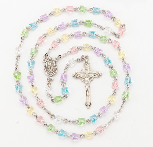 Multi-Color Swarovski Crystal Sterling Silver Rosary