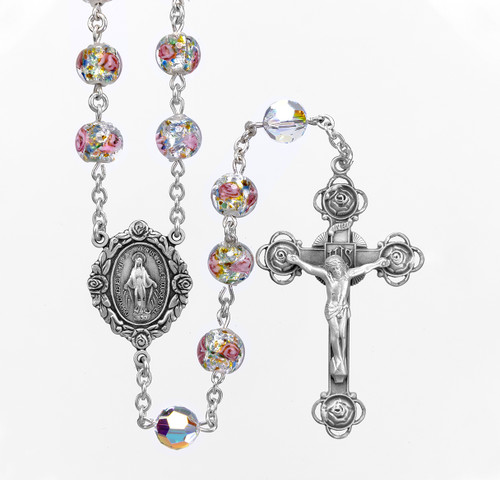 Murano Venetian Glass Round Rose Rosary Bracelet | Miraculous Medal & Crucifix