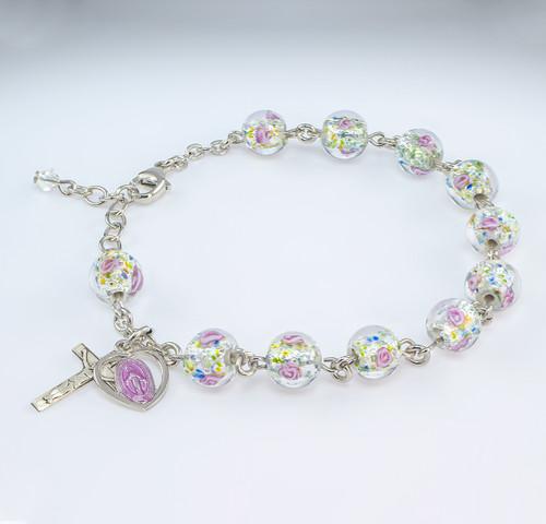 Murano Venetian Glass Round Rose Rosary Bracelet