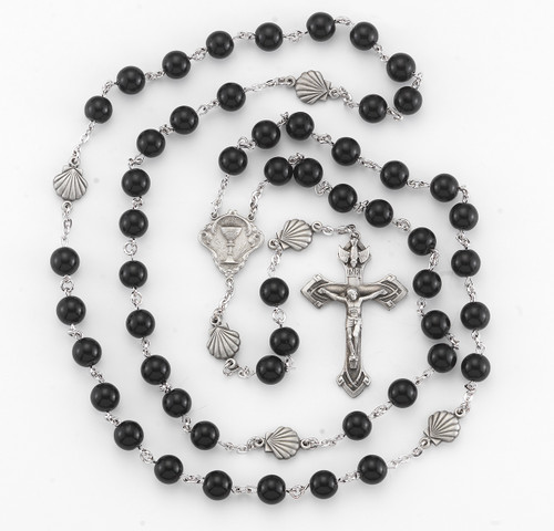 Onyx Communion New England Pewter Rosary