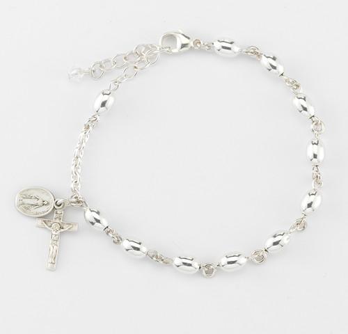Oval High Polished Sterling Silver Rosary Bracelet