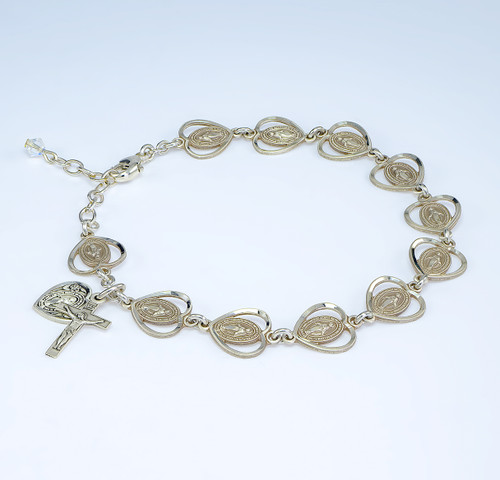 Pierced Miraculous Medal Heart Sterling Silver Rosary Bracelet