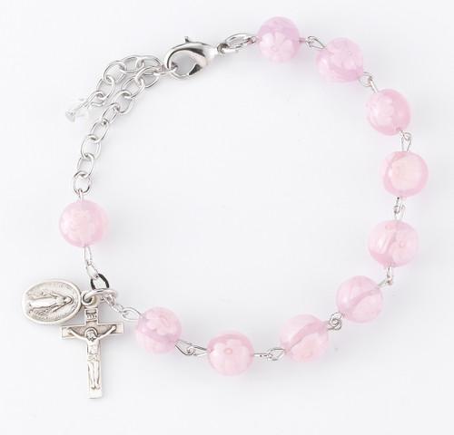 Pink Flower Venetian Glass Rosary Bracelet