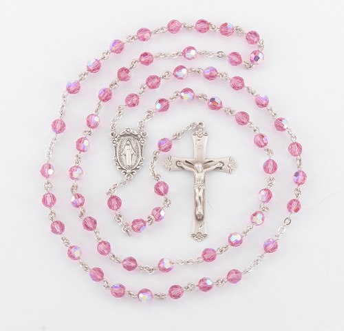 Pink Swarovski Crystal Rosary | 6mm Beads