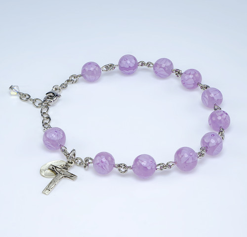 Pink Venetian Round Glass Bead Sterling Silver Rosary Bracelet
