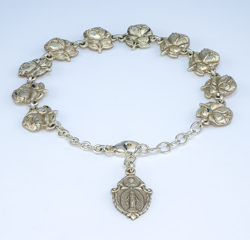 Rose Bud Beads with Saint Images Sterling Silver Bracelet