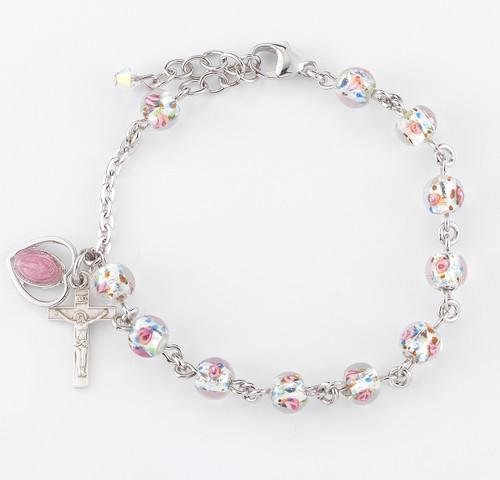 Rose Embedded Murano Glass Rosary Bracelet | 6mm Beads