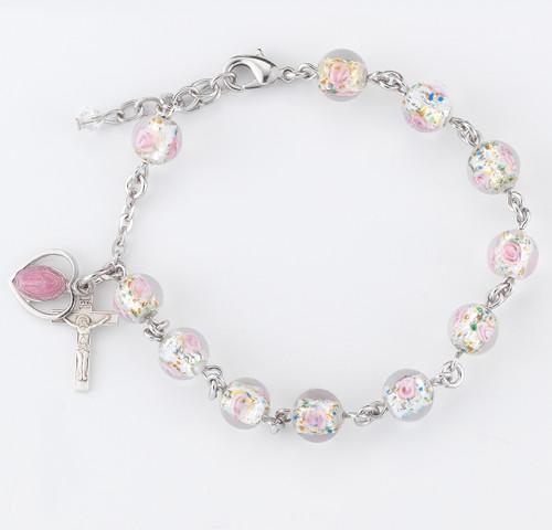 Rose Embedded Murano Glass Rosary Bracelet | 8mm Beads
