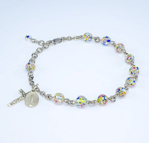 Rose Embedded Round Murano Glass Sterling Silver Rosary Bracelet | Sterling Silver Chain