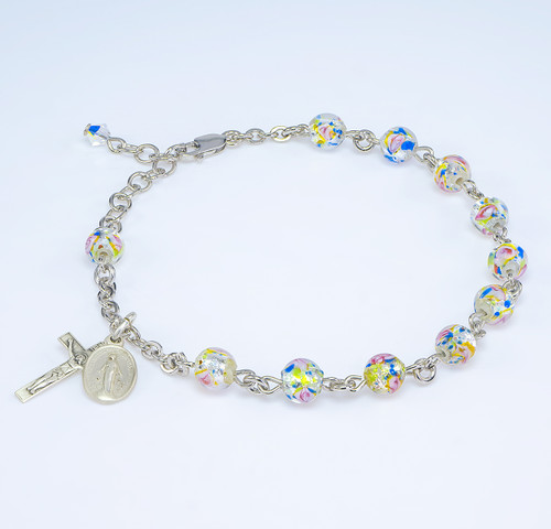 Rose Embedded Round Murano Glass Sterling Silver Rosary Bracelet | Rhodium Plated Chain