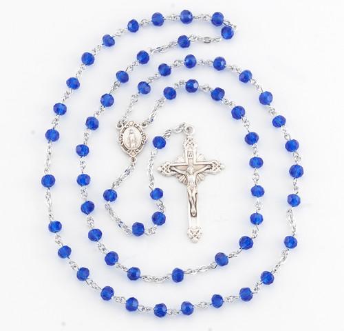 Round Caribbean Blue Bead Rosary