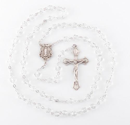 Round Clear Swarovski Crystal Sterling Silver Rosary