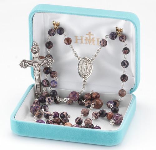 Round Imperial Jasper Purple Bead Rosary