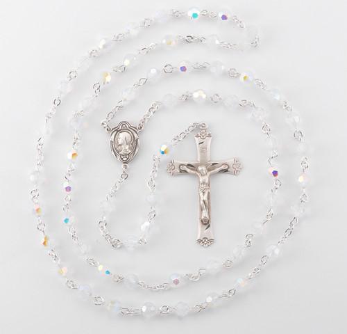Round Opal Swarovski Crystal Sterling Silver Rosary