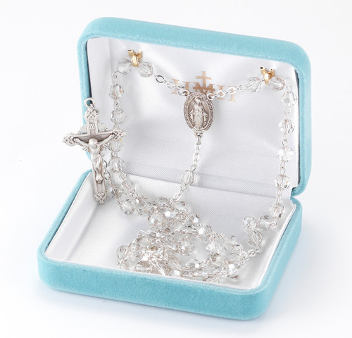 Round Smoked Swarovski Crystal Sterling Silver Rosary
