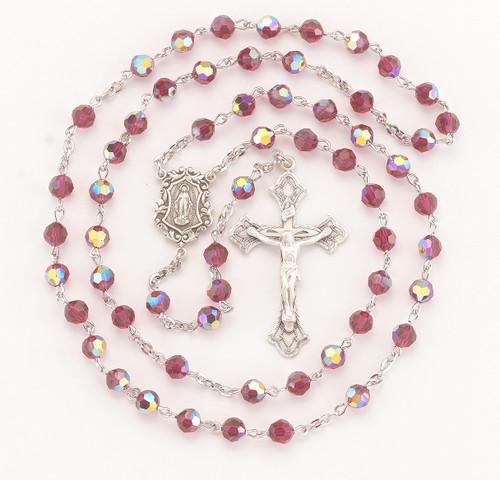 Ruby Swarovski Crystal Rosary