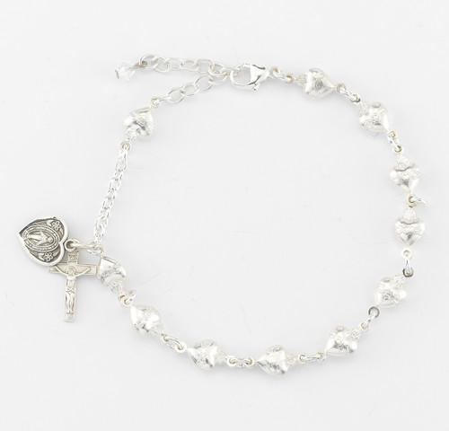 Sacred Heart Solid Sterling Silver Rosary Bracelet