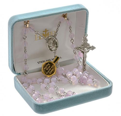 Saint Agatha Pink Opal Swarovski Crystal Rosary