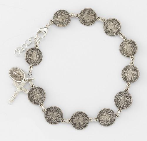 Saint Benedict Round Sterling Silver Rosary Bracelet