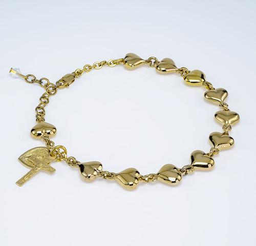 Solid Gold Over Sterling Silver Polished Heart Rosary Bracelet