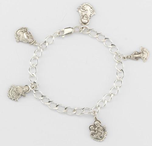 Solid Sterling Silver Charm Saint Medals Bracelet